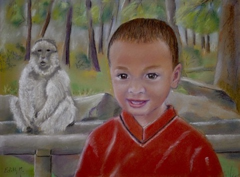 tableau tableaux Edith Messmer pastel pastels tendres portrait portraits enfant enfants animal animaux singe singes
