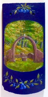 tuile tuiles acrylique acryliques Edith Messmer chapelle ruines Climbach fruits myrtilles paysage paysages